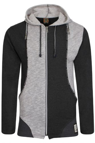 Mens Italian Designer fitted Hooded Top Full Zip Grey Marl Black with zip Detail